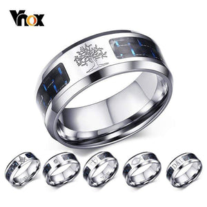 Vnox 8mm Personalize Carbon Fiber Ring For Man Engraved Tree Of Life Stainless Steel Male Alliance Casual Customize Jewelry Band - Euforia Jewels