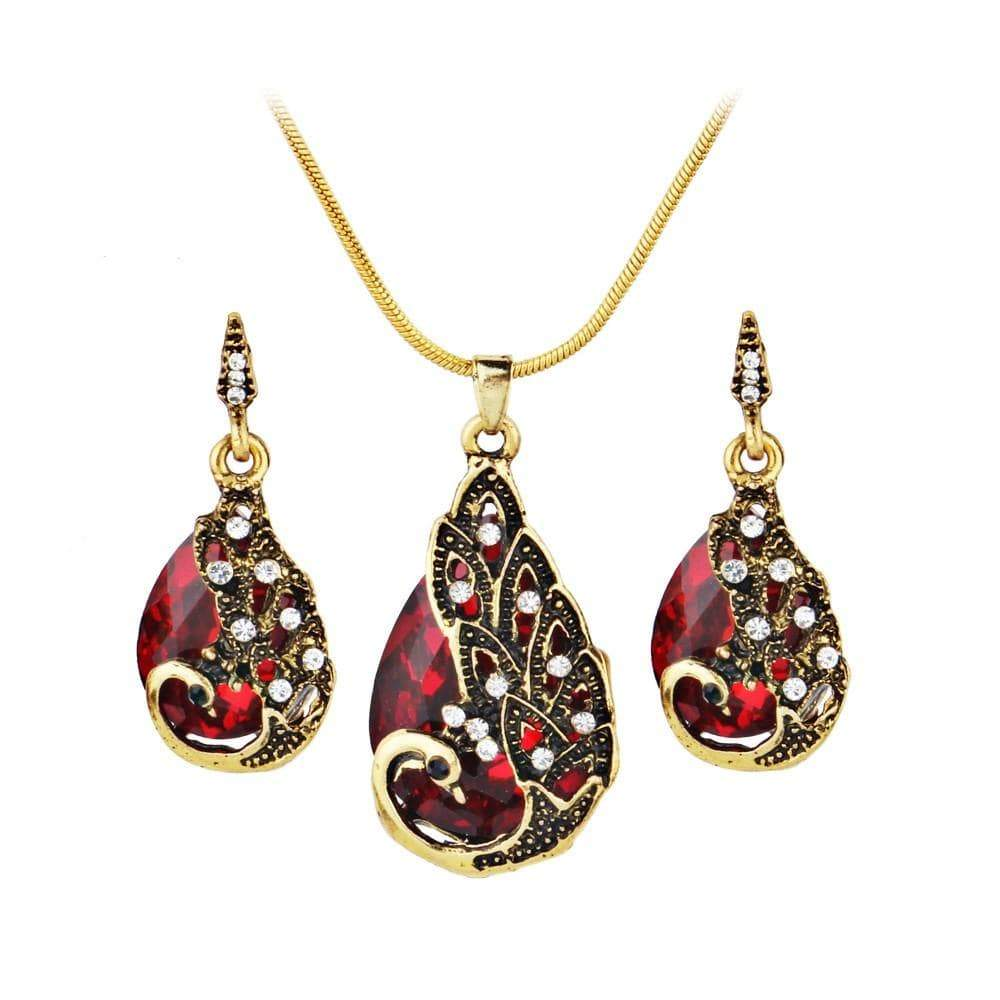 Women's Earring Peacock Jewel Ornaments Necklace Ear Studs Jewellery - Euforia Jewels