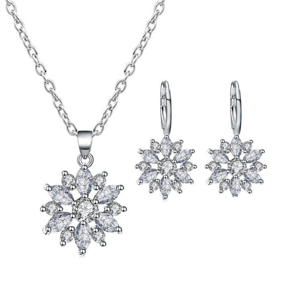 Women's Zircon Flower Pendant Earring Necklace Ornament Jewellery Suit - Euforia Jewels