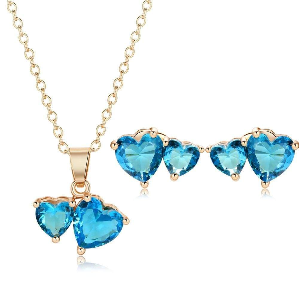 CZ Heart Earrings Necklace Set - Euforia Jewels