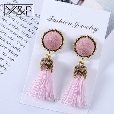 X&P Small Tassel Earrings for Women Fashion Jewelry Bohemian Ball Statement Face Fringed Tiny Drop Earring Female Jewellery Gift - Euforia Jewels