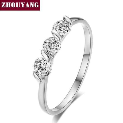 ZHOUYAN Engagement Wedding Ring For Women Classic Simple CZ Austrian Crystal Rose Gold Color Fashion Jewelry Lover Ring R067 - Euforia Jewels