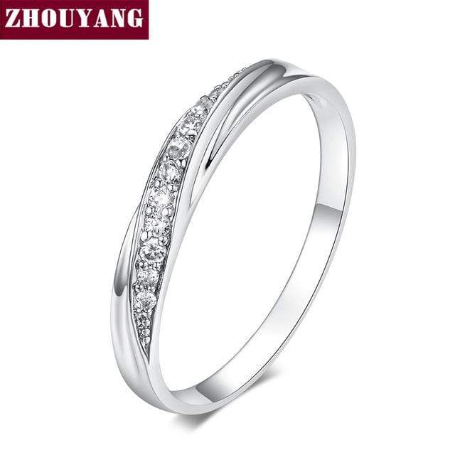 ZHOUYANG Wedding  Ring For Women Lovers Simple Cubic Zirconia Rose Gold Color Fashion Jewelry  ZYR314 ZYR317