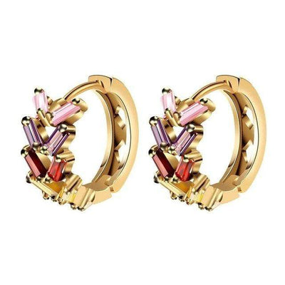 ZOSHI Fashion Jewellery Huggie Earing for Women Colorful Cubic Zirconia Hoop Earings Design Wedding Earring Brinco Bijoux - Euforia Jewels