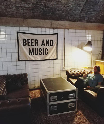 Signature Brew Taproom & Venue, Sofas And Flight Case Coffee Table, Beer And Music Banner