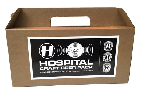 Signature Brew Hospital Records gift pack 330ml cans and t-shirt
