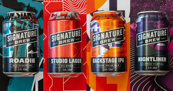Roadie All Night IPA, Studio Lager, Backstage IPA, Nightliner Coffee Porter, Signature Brew Core Beers, London Brewery