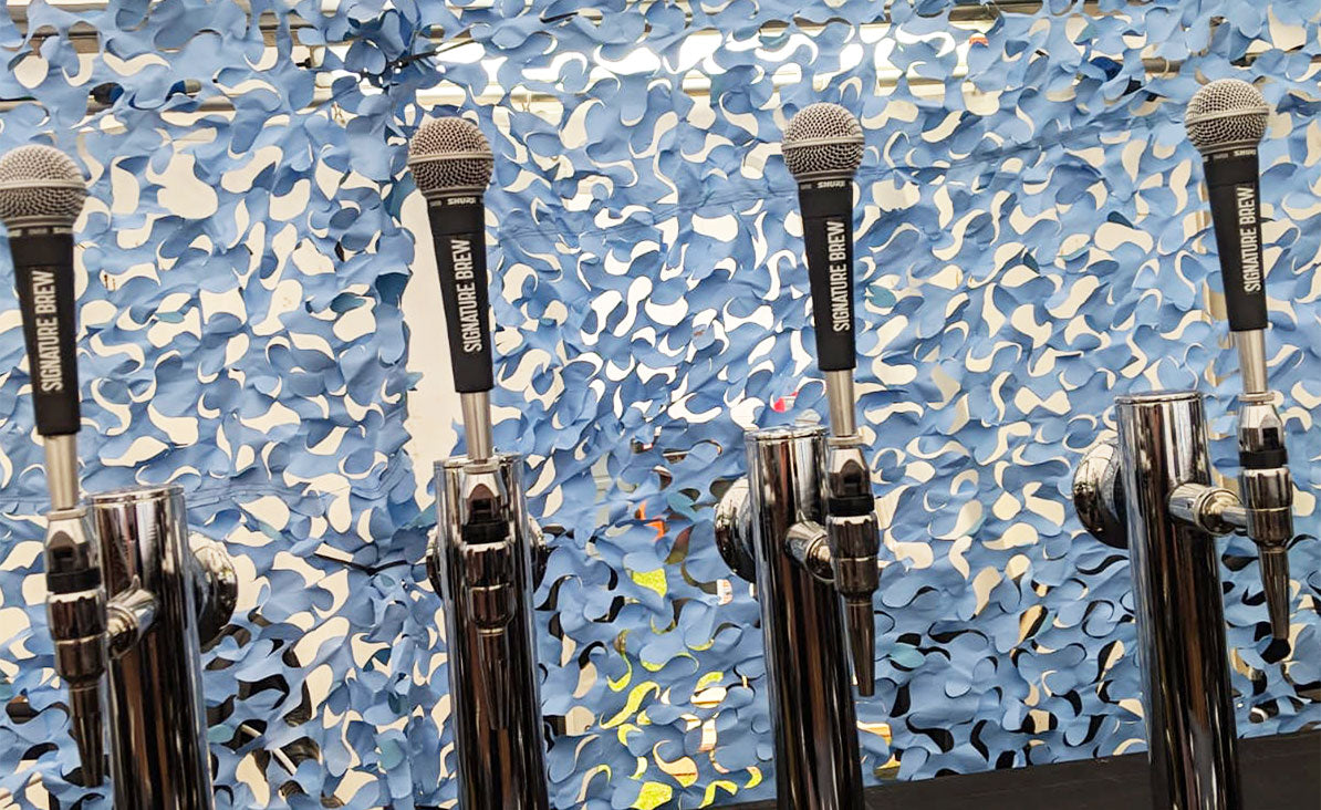 Signature Brew Shure Microphone Tap Handles On Festival Bar