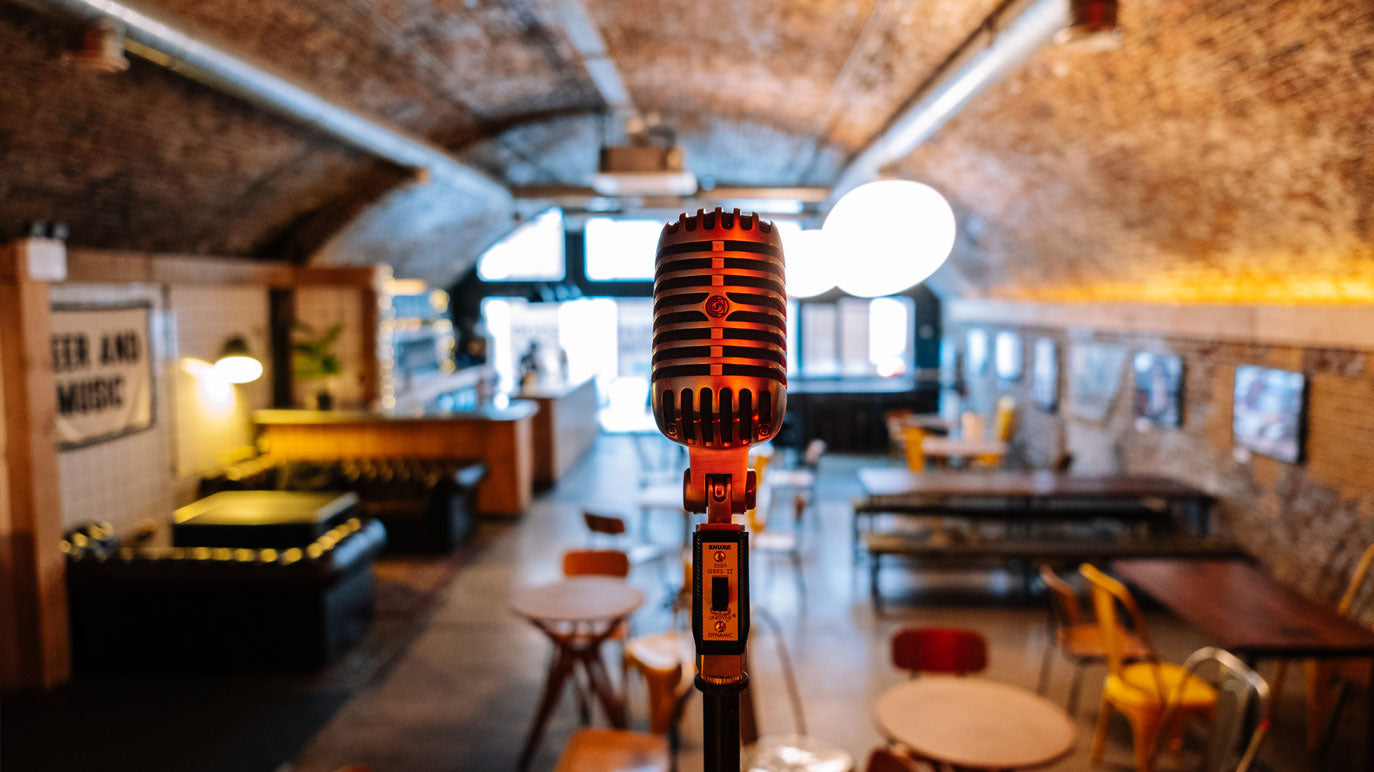 Signature Brew Taproom & Venue East London Shure Microphone Stage