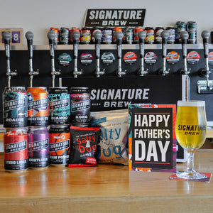 Fathers Day Pub In A Box - Brewery Tour, Card, Beers, Glass, Snacks, Music Quiz, Beer Mat, Playlists & More
