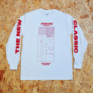 Brewery Long Sleeve T-shirt Signature Brew Vinyl Groove Design White Red Ink The New Classic Analogue Lager Pilsner London Merch