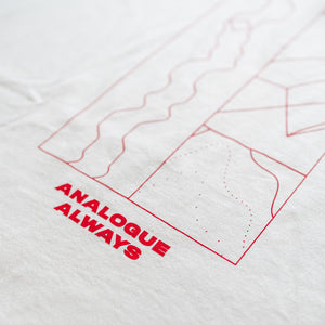 Brewery Long Sleeve T-shirt Signature Brew White Red Ink The New Classic Analogue Lager Pilsner London Merch Close Up Design