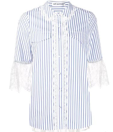 Striped Lace Trim Shirt