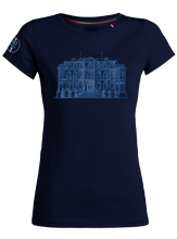 "Load image into Gallery viewer, ""Chateau"" T-Shirt Woman Blue Navy"
