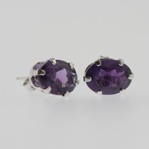 Amethyst oval studs in 10ct white gold 8x4 mm