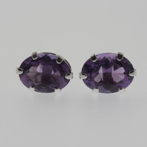 Amethyst oval studs in 10ct white gold 8x6 mm