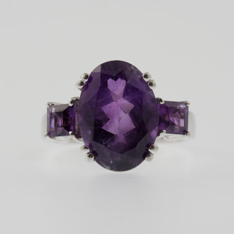 Amethyst oval with side princess squares ring in sterling silver