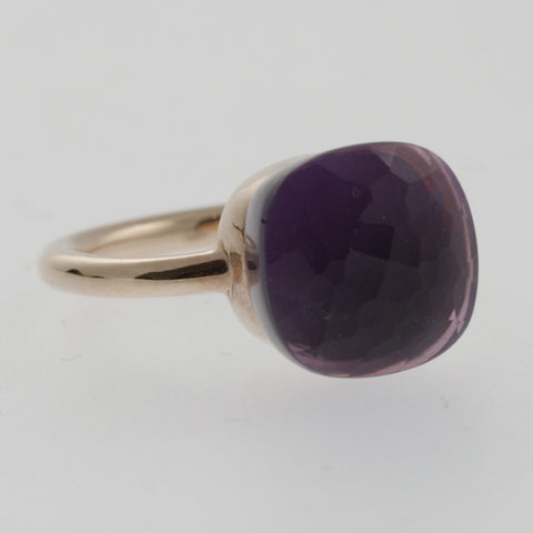 Amethyst rose gold solitaire ring