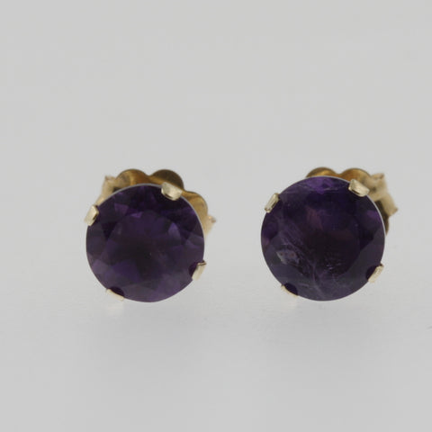 Amethyst round 4 claw studs in 14ct yellow gold