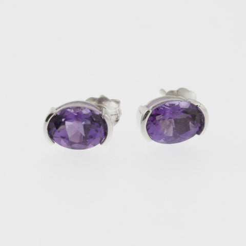Amethyst oval studs in white gold
