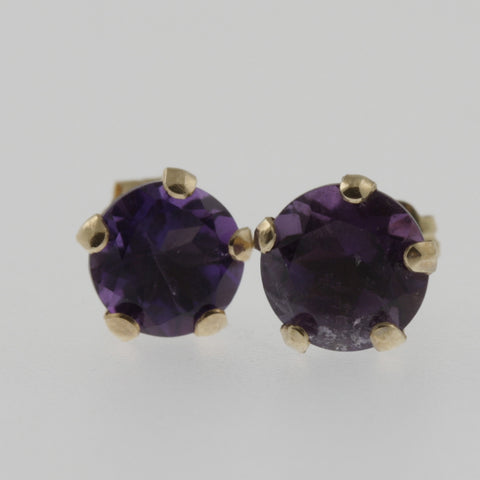 Amethyst round 5 claw studs in 10ct yellow gold