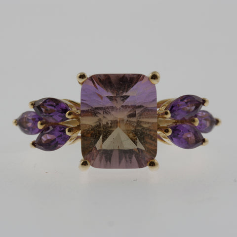 Ametrine and amethyst ring in yellow gold