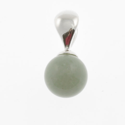 Ball pendant in stone and silver- green