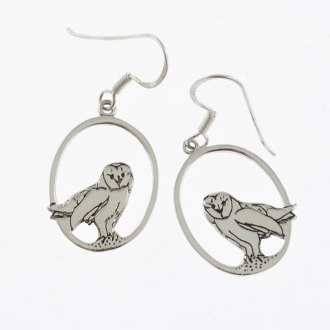 Barn owl silver earrings
