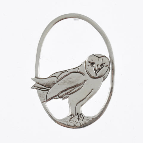 Barn owl large silver pendant