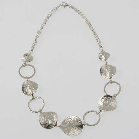Beaten mexican silver disc and ring necklace