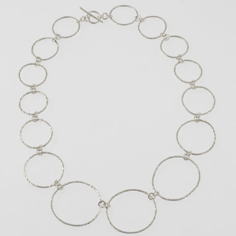 Beaten mexican silver ring necklace