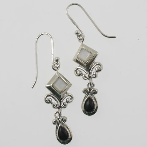 Black and white detailed earrings