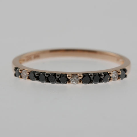 Black and white diamond rose gold ring band