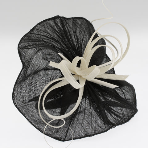 Black and white paris cloth fascinator on headband