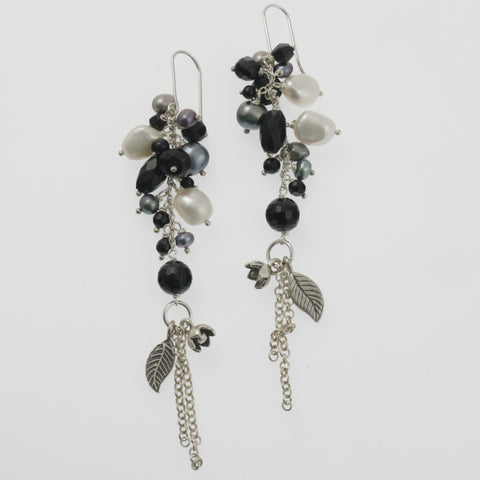 Black and white pearl and onyx drop and leaf earrings