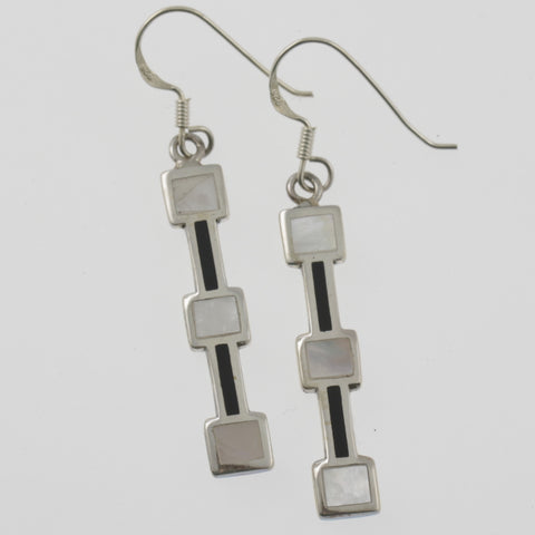 Black and white three squares earrings