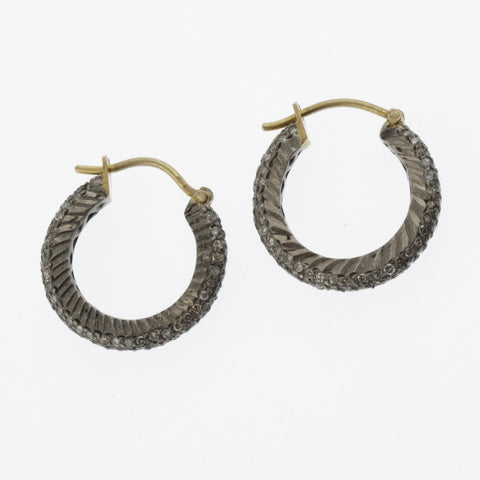 Black diamond small hoop earrings in silver and yellow gold