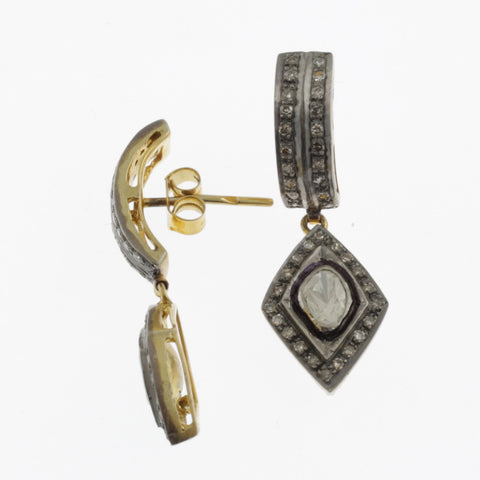 Black diamonds in silver and yellow gold studs with diamond drop earrings