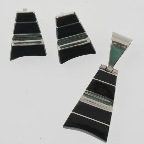 Black onyx and mexican silver striped earring and pendant set