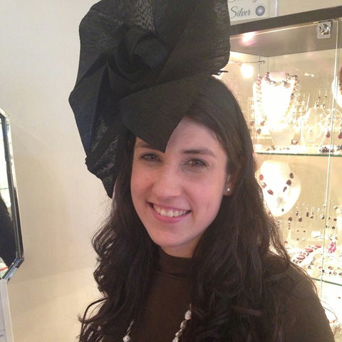 Black origami fascinator on headband