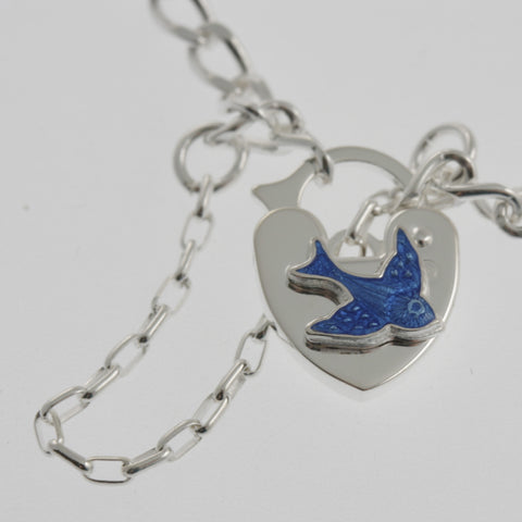 Baby bracelet with bluebird locket and name plate in sterling silver.