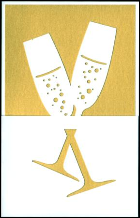 Gold celebration flutes lazer cut gift card