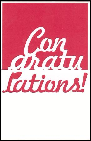 Red congratulations lazer cut gift card