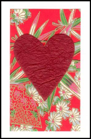 Red heart handmade gift card