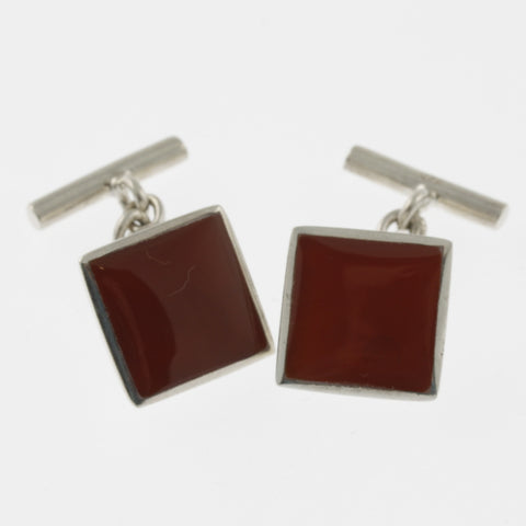 Carnelian and sterling silver square cufflinks