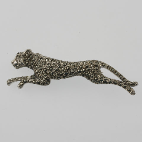 Cheetah marcasite and sterling silver brooch