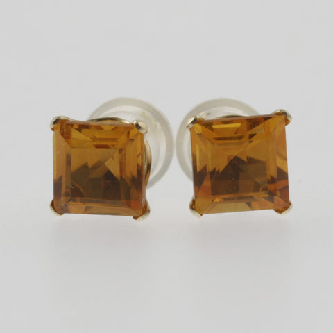 Citrine princess cut studs