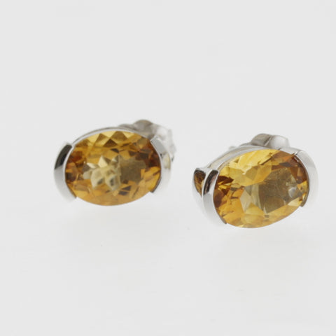 Citrine oval studs in white gold