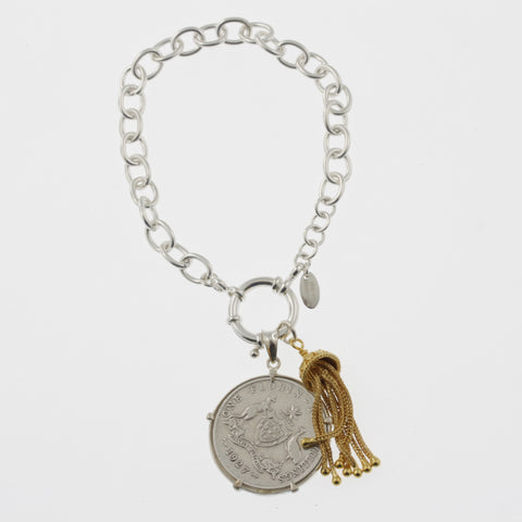 Coin bracelet on belcher chain with florin and tassle