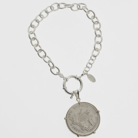 Coin bracelet on belcher chain with florin